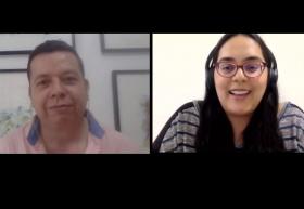 Periodista Agustín del Castillo y Brenda Ramos, jefa del Centro de Formación en Periodismo Digital